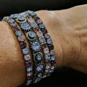 Purple and silver stretchy bracelet bundle